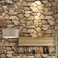 3D Waterproof Vintage Stone Effect Wallpaper Roll Rustic Faux Stone Texture Vinyl PVC Wall Paper Home Decor for walls