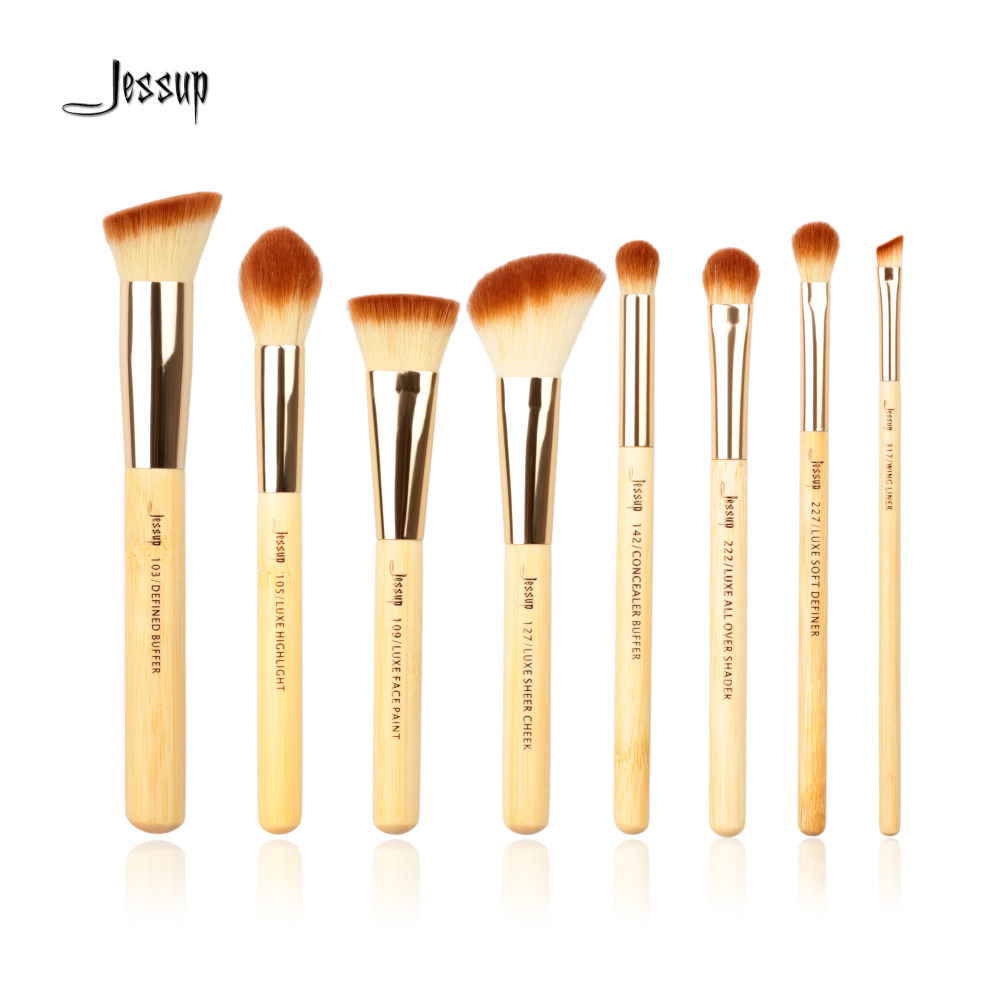 Jessup Brand 8pcs Beauty Bamboo Professional Makeup Brushes Set Make up Brush Tools kit Buffer Paint Cheek Highlight Shader line jessup brand 25pcs beauty bamboo professional makeup brushes set make up brush tools kit foundation powder blushes eye shader