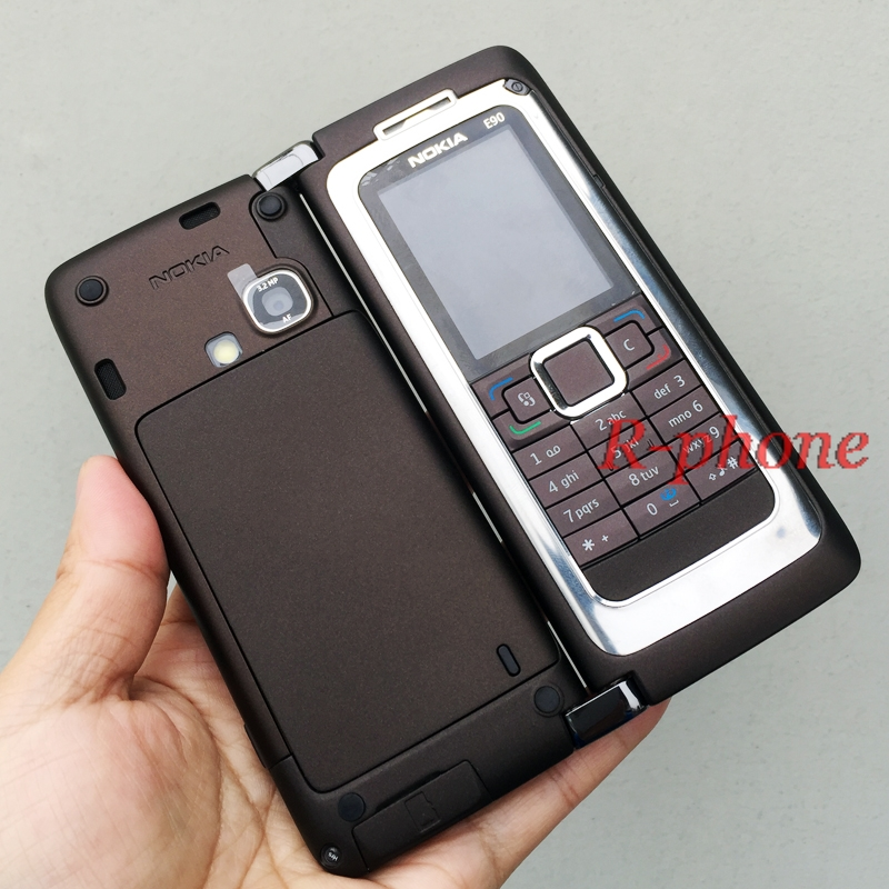 New Original NOKIA E90 Mobile Cell Phone 3G GPS Wifi 3.2MP Bluetooth Smartphone Brown & One Year Warranry feature phone