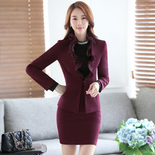 Novelty Wine Professional 2016 Autumn Winter Formal Blazers Suits With Jackets And Skirt Ladies Skirt Suits Office Work Wear