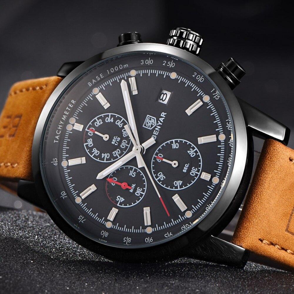BENYAR Men Military Sport Luminous Wristwatch Chronograph Leather Quartz Watch relogio masculino Mens Watches Top Brand Luxury oem 144 430 na 519 bnc walkie talkie icom ic v8 ic v80 ic v80e ic 82 ic v85 na 519