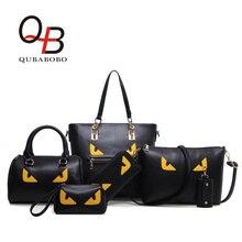 QUBABOBO Monstre Yeux Femmes Composite Sac de Haute Qualité 6 PC Pu Cuir Femme Sacs À Main Sac À Bandoulière Dames Boston Sacs BT000617