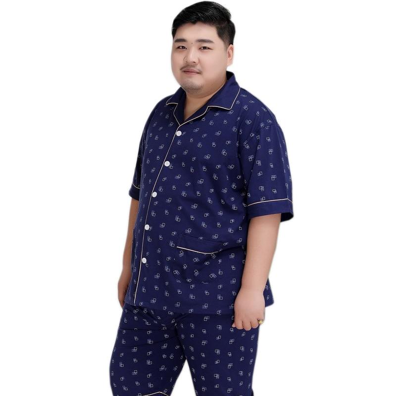 Plus Size Shorts Sleepwear Men 140KG 5XL 100% Cotton Pajama Sets Men Simple Short Sleeves Casual Pyjamas For Male