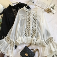 New Korean Thin Hollow Long Sleeve Chiffon Shirt Blouse Single Breasted Blusas Femininas Elegante See Through Sexy Shirt D299