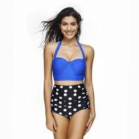 2017 Sexy Women Summer Push Up Bikini Set High Waist Swimsuit Swimwear Bikinis Print Dot Print
