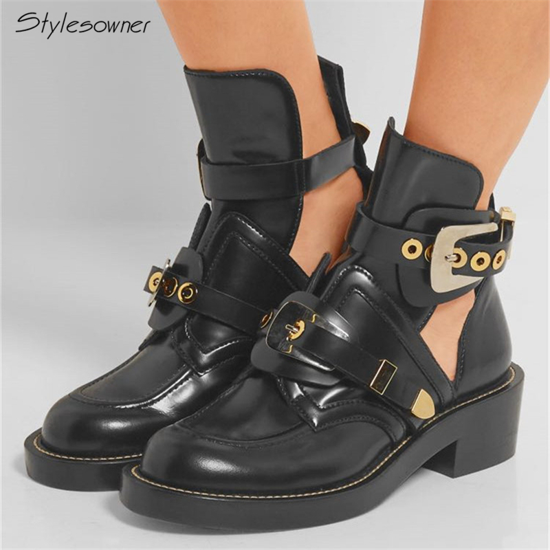 Stylesowner Sexy Women Mortorcycle Ankle Boots Hollow Out Big Metal Buckle Real Leather Boots Chunky Heel Short Botas Mujer Chic chic faux gem embellished hollow out necklace for women