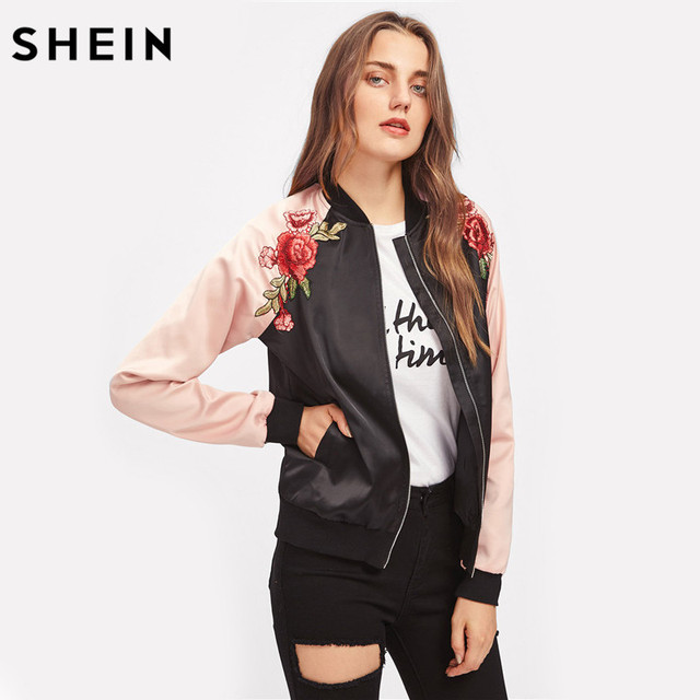 9a65062d32 SHEIN Symmetric Embroidery Patch Contrast Raglan Sleeve Bomber Jacket Women  Color Block Zipper Autumn Casual Jackets