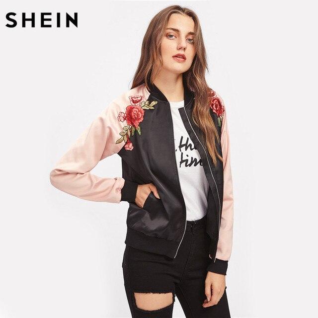 € 37.84  SHEIN symétrique broderie Patch contraste manches Raglan Bomber veste femmes couleur bloc Zipper automne vestes décontractée dans Vestes de