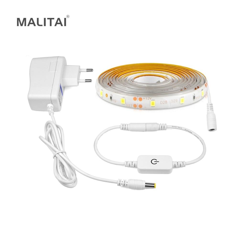 Flexible LED Bande Dimmable Tactile Commutateur Capteur Armoire lampe Sous La lumière Du Cabinet Escaliers Cuisine éclairage 110 v 220 v UE US Plug