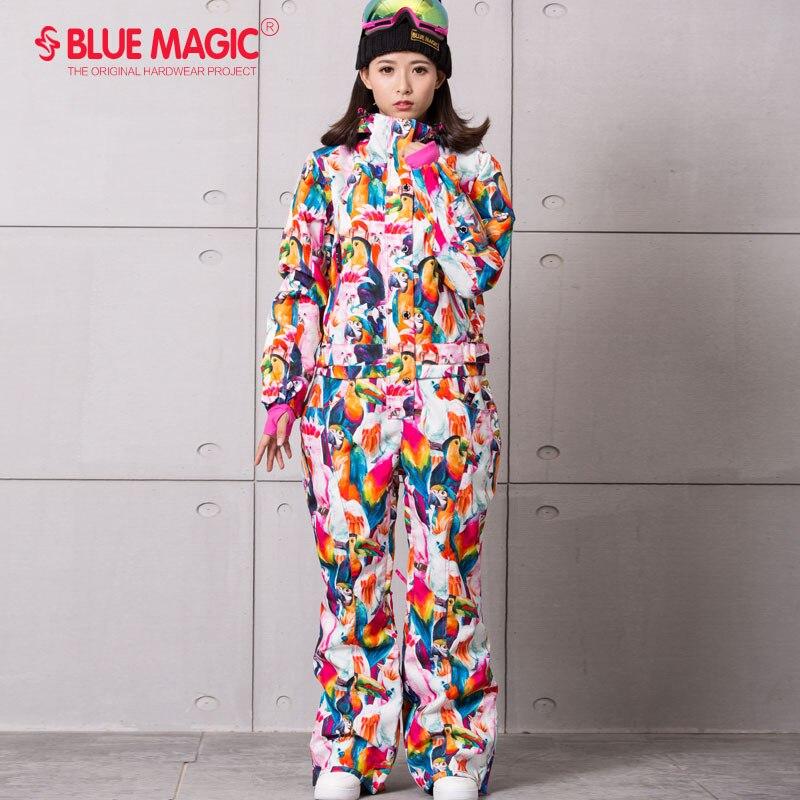 Синий волшебный водонепроницаемый Сноубординг цельный лыжный комбинезон женский сноуборд-30 градусов лыжный костюм зимняя одежда комбинезон - Цвет: BIRD