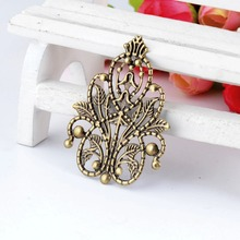 Retail 5Pcs Bronze Tone Filigree Wraps Flower Connectors Metal Crafts Gift Decoration DIY Findings 4.8×3.5cm