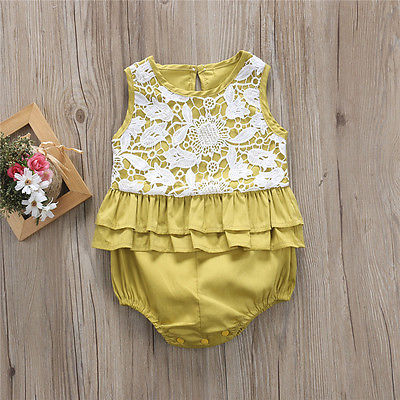 2c245734438 Summer Cute Casual Infant Baby Girls Lace Romper Baby Romper Yellow  Sleeveless Jumpsuit Outfits Sunsuit One-Piece Clothes 0-24M