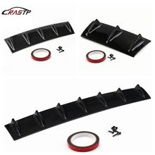 RASTP - ABS Plastic Universal Black Rear Bumper Lip Chassis Diffuser Spoiler 3/5 Fin Shark Style RS-LKT025