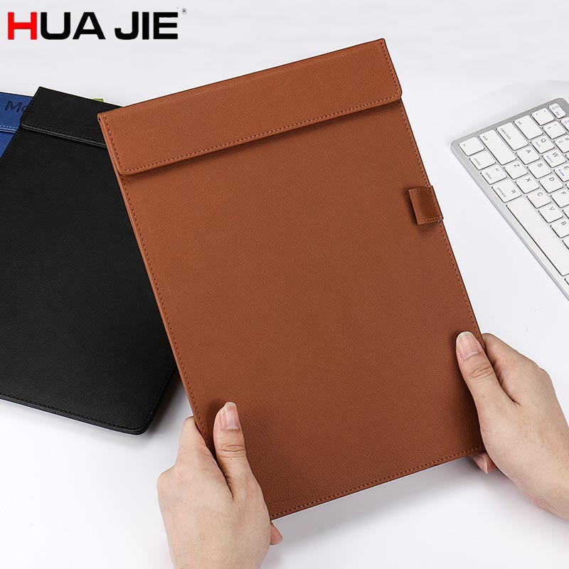 HUA JIE A4 Clipboard Document Portfolio Pen Slot Magnetic Conference Folders Restaurant Menu Note Boards Hospital File Notepads hua jie pu leather portfolio pocket folder card holders a4 paper file document organizer bag for meeting menu covers restaurants