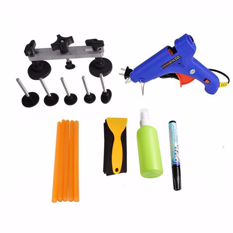 PDR Tools Kit Ferramentas Dent Removal Paintless Dent Repair Tools Dent Puller Kit Pulling Bridge Adhesive Hand Tool Set dent puller kit pdr tools paintless dent repair removal tool car straightening instruments hand tool set ferramentas suction cup