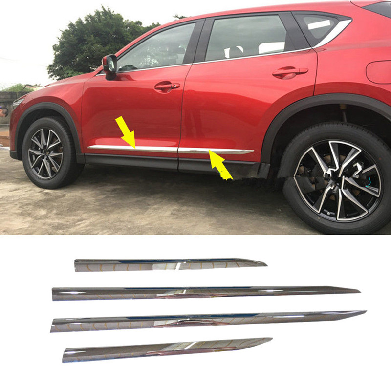 Fit 2017 2018 Mazda CX-5 CX5 Chrome ABS Car Body Side Door Moulding Cover Trim 4pcs Car Styling 4pcs abs plastic chromed  car door body