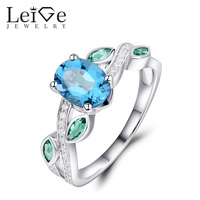 Leige Jewelry Swiss Blue Topaz Ring with Emerald Oval Cut 925 Sterling Silver Fine Rings for Women Wedding Anniversary Gift