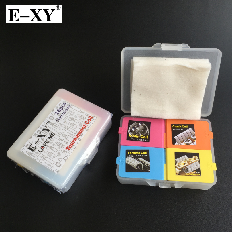 E-XY 4 dans 1 Prédéfinis Bobine Boîte Kit Forteresse Violon Centipede Fissure Bobine Clapton premade fil pour E Cigarette RDA RBA