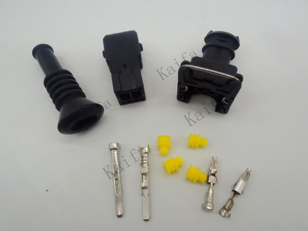 1 set EV1 Fuel Injector Plug nozzle Cars Waterproof 2 Pin way Electrical Wire Connector Plug automobile Connectors with sheath black 50 sets 4 pin dj3041y 1 6 11 21 deutsch connectors dt04 4p dt06 4s automobile waterproof wire electrical connector plug
