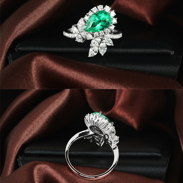 1.2ct to 1.3ct Natural Emerald 14K White Yellow Gold 0.4 to 0.5ct Round Cut Diamond Engagement Ring Jewelry Gemstone colombian