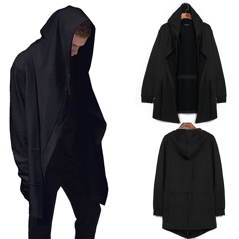 Hooded Mantle Cloak Men Black Hip Hop Streetwear Hoodies Sweatshirt Gothic Punk Mantle Mens Hoody Cardigan Coat Sudaderas Hombre
