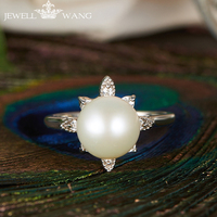 JEWELLWANG Natural Pearl Rings Original Design Shiny Solid S925 Silver Rings Natural Pearl 8 8.5 Fine Jewelry For Woman Wedding