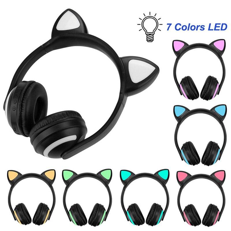 Cute Cat Ear Bluetooth Headphone Earphone Flashing Glowing Headphones Gaming Music Deer Rabbit Devil Ear Headset Earphones Bluetooth Earphones Headphones Aliexpress