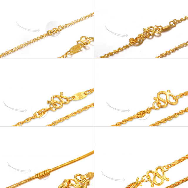 XXX 24K Pure Gold Necklace Real AU 999 Solid Gold Chain Beautiful Smooth Shiny Upscale Trendy Classic Fine Jewelry Hot Sell New 4
