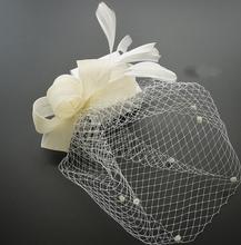 Fiesta de gallinas velo fascinator sombrero de las mujeres de la boda pluma dots sombrero neto señora accesorio del pelo del clip sombreros evento festivo suministros presenta