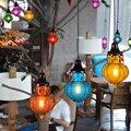 Mancoffee Retro Sudeste Asiático Bohemia Colorido de Vidro Cystal Luz de Teto Lâmpada Café Bar Coffee Shop