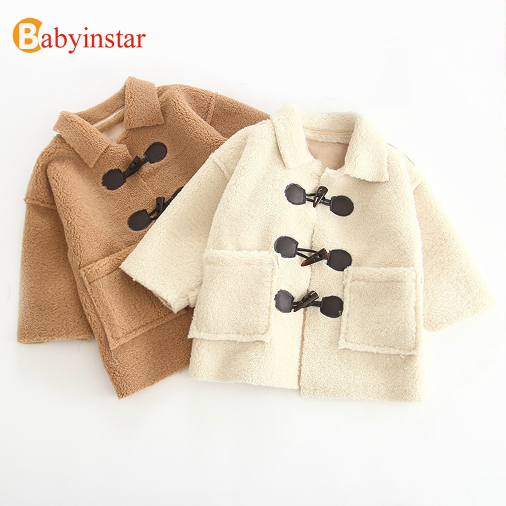 Babyinstar Girls Winter Faux Fur Lamb Wool Outerwear 2018 Children Clothing Kids Fashion Thick Warm Winter Clothes