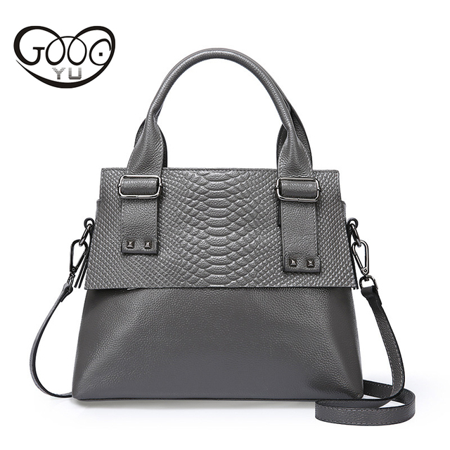High Quality Cow Leather Made Of Women Handbags With Embossed Serpentine Decorative Rivets Reinforced Size Medium