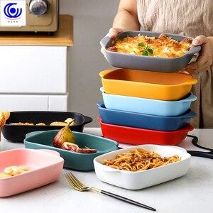 7 видов цветов керамическая бинауральная прямоугольная тарелка для сыра сковорода для выпечки блюдо лоток для Западной посуды миска для ду...
