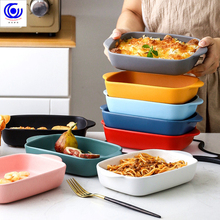 7 Colors Ceramic Binaural Rectangular Cheese Baked Plate Pan Baking Dish Tray Western Dishes Oven Bowl High Temperature 600C