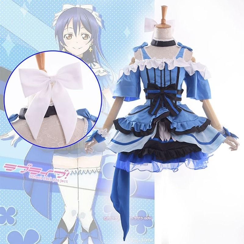 Meilė gyventi! Mokyklos Idol projektas KiRa-KiRa Sensation! Umi Sonoda Cosplay kostiumas U muzikos scenos kostiumas Lolita suknelė
