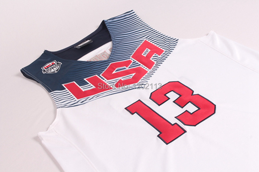 b8d02bd1841 2014 Dream Team USA Basketball Jerseys  13 James Harden Jersey 2014  Basketball World Cup White and Blue Jerseys Embroidery Logos-in Basketball  Jerseys from ...