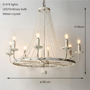 Image 4 - רטרו בציר יוקרה מדינה אמריקנית סגנון גדול LED קריסטל מנורת נברשת lustres המודרני E14 אורות למלון סלון