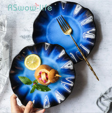 Creative Ceramic Plate Dish Lotus Leaf Shape Retro Household Tableware Dishes And Plates Sets Restaurant Supplies