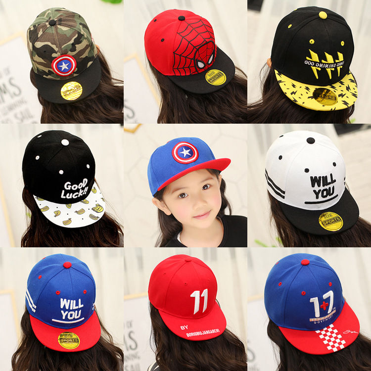 2-12Y Summer Childrens Baseball Cap Boys&Girls Cartoon Captain America Snapback Adjustable Kids Hip Hop Hat Sun Cap