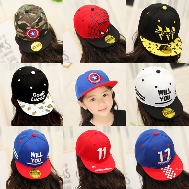 2-12Y Summer Childrens Baseball Cap Boys Girls Cartoon Captain America  Snapback Adjustable Kids Hip Hop Hat Sun Cap 6e6461c67932