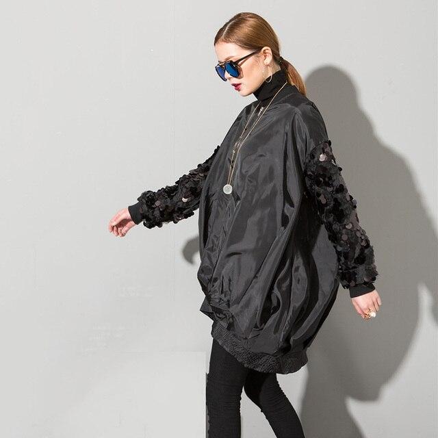 [Soonyour] 2017 весна новая улица пальто белый блестками воротник с длинными рукавами свободные плюс размер молния куртка женщин оптовая AS17301