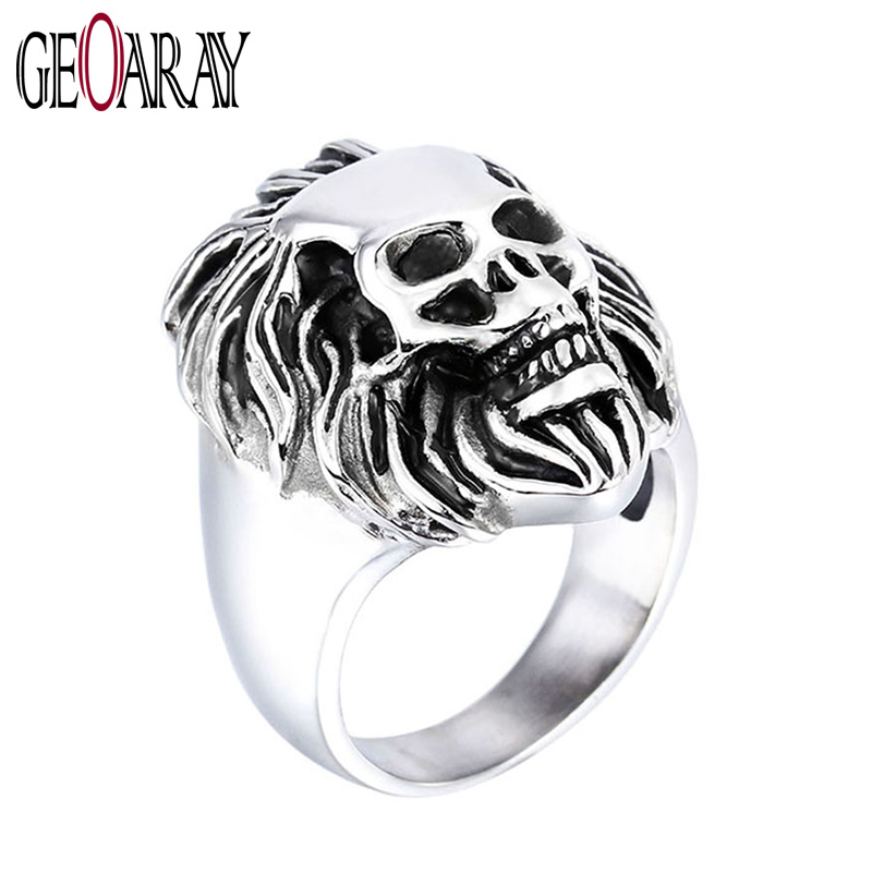 Vintage Biker Lion Skull Rings Mens 316L Stainless Steel Black Silver Ring Men Fashion J ...