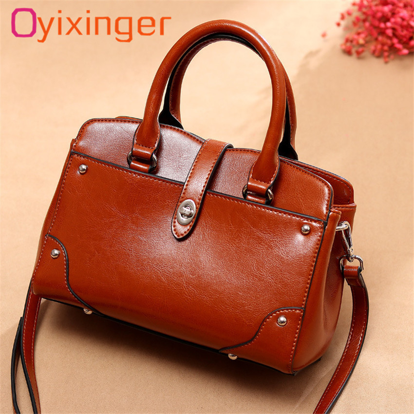 Oyixinger Luxury Retro Tote Handbags Women Bags Designer Oil Wax Leather Vogue Shoulder Bag For Female 2018 New Crossbody Bags fashion women genuine leather handbags large capacity tote bag oil wax leather shoulder bag crossbody bags for women