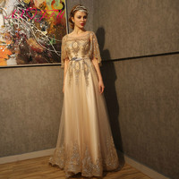 AXJFU princess flower golden lace evening dress luxury vintage o neck beading feather sashes gold powder red lace evening dress