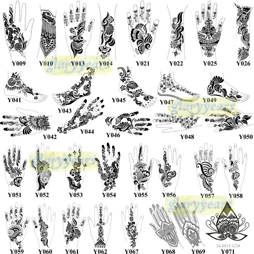 Aliexpress Buy 1pc Hot Waterproof Henna Glitter Paste Papers Temporary Fake Tattoo Stencils Indian Women Body Hands Art Painting Templates Y042 From