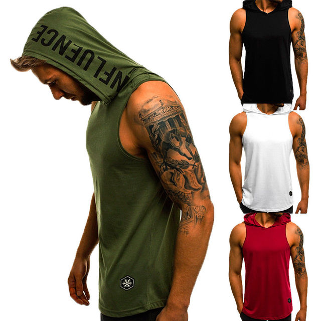 Men's Sleeveless Workout Hooded Tank Tops 3