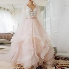 Abito da ballo con scollo a V Blush abiti da sposa rosa con applicazioni 2021 Sexy Backless Ruffle Tulle gonna abito da sposa senza maniche con cintura