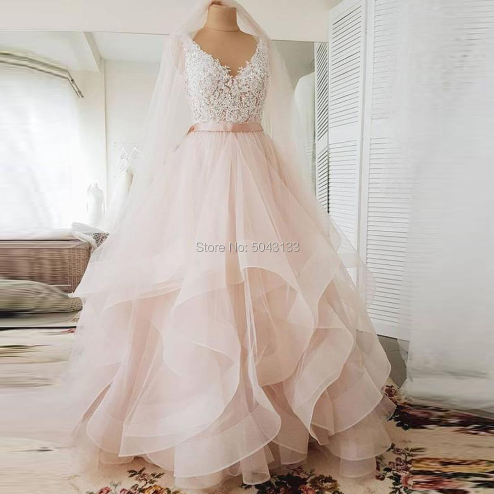 V Neck Ball Gown Blush Pink Wedding Dresses With Appliques 2020 Sexy Backless Ruffle Tulle Skirt Sleeveless Bride Gown Long Sash