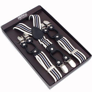 New Suspenders Black leather 6 Clips Braces Male Vintage Casual Suspensorio Trousers Strap Father/Husband's Gift 2.5*120cm