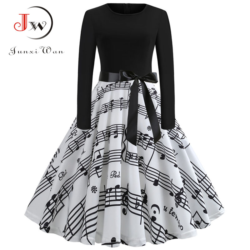 Music Note Print Elegant Party Dress Women 50s 60s Retro Vintage Robe  Rockabilly Dresses Plus Size Casual Winter Midi Dresses